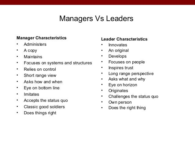 Leaders vs managers essay