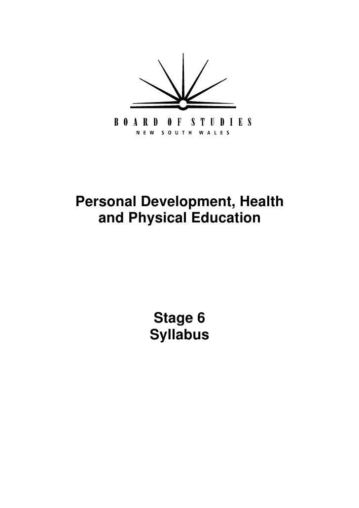 Personal Development, Health    and Physical Education          Stage 6           Syllabus