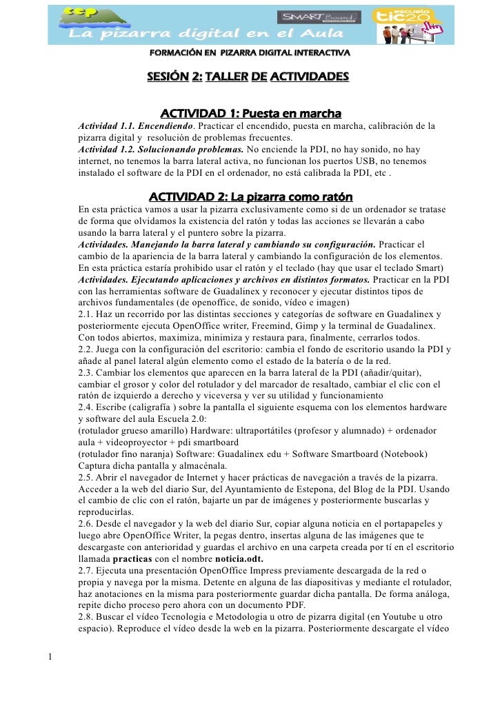 FORMACIÓN EN PIZARRA DIGITAL INTERACTIVA                     SESIÓN 2: TALLER DE ACTIVIDADES                        ACTIVI...