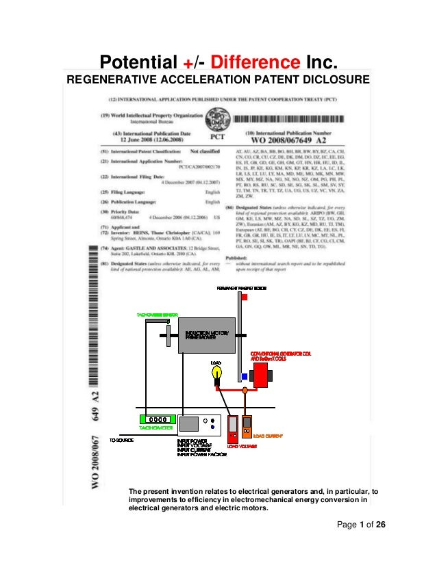 Page 1 of 26Potential +/- Difference Inc.REGENERATIVE ACCELERATION PATENT DICLOSUREThe present invention relates to electr...