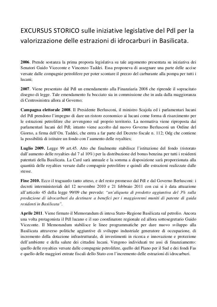 Pdl Basilicata -  Dossier Petrolio