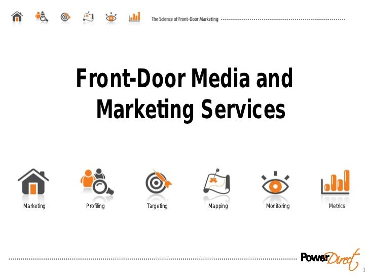 Front-Door Media and              Marketing ServicesMarketing    Profiling   Targeting   Mapping   Monitoring   Metrics   ...