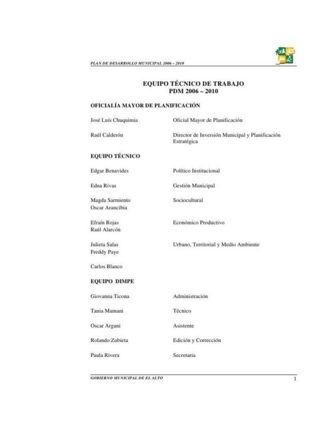 1. PLAN DE DESARROLLO MUNICIPAL 2006 – 2010GOBIERNO MUNICIPALDE EL ALTO 0     2. PLAN DE DESARROLLO MUNICIPAL 2006 – 2010 ...