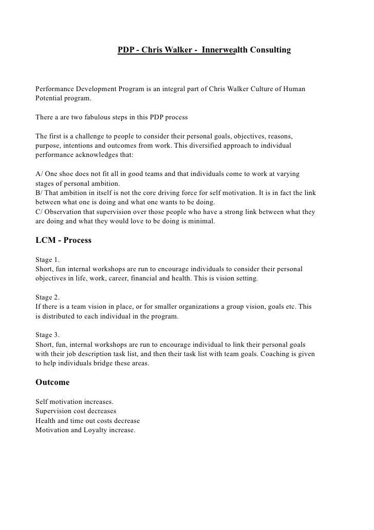 PDP - Chris Walker - Innerwealth Consulting    Performance Development Program is an integral part of Chris Walker Culture...