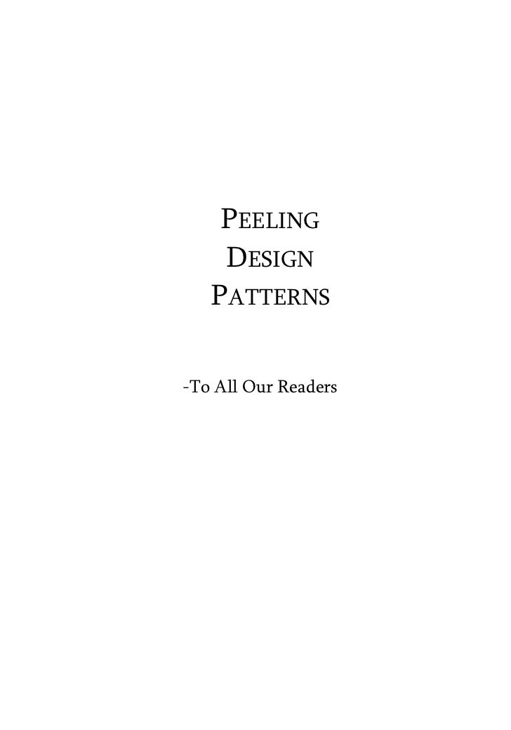 PEELING    DESIGN   PATTERNS-To All Our Readers