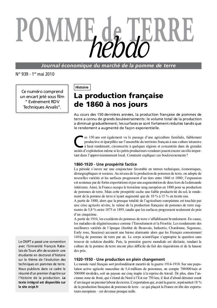 POMME de TERRE    hebdo        Journal économique du marché de la pomme de terreN°939-1ermai2010                     ...