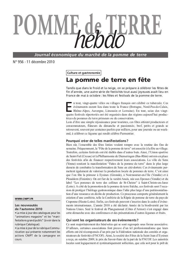 POMME de TERRE    hebdo         Journal économique du marché de la pomme de terreN° 956 - 11 décembre 2010                ...