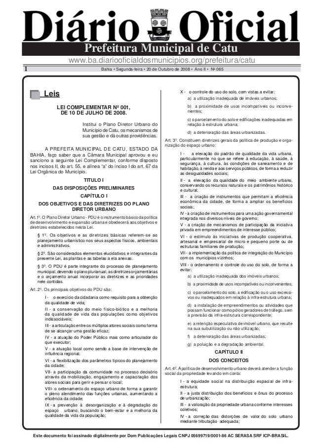 www.ba.diariooficialdosmunicipios.org/prefeitura/catu Bahia • Segunda-feira • 20 de Outubro de 2008 • Ano II • No 0651 Pref...