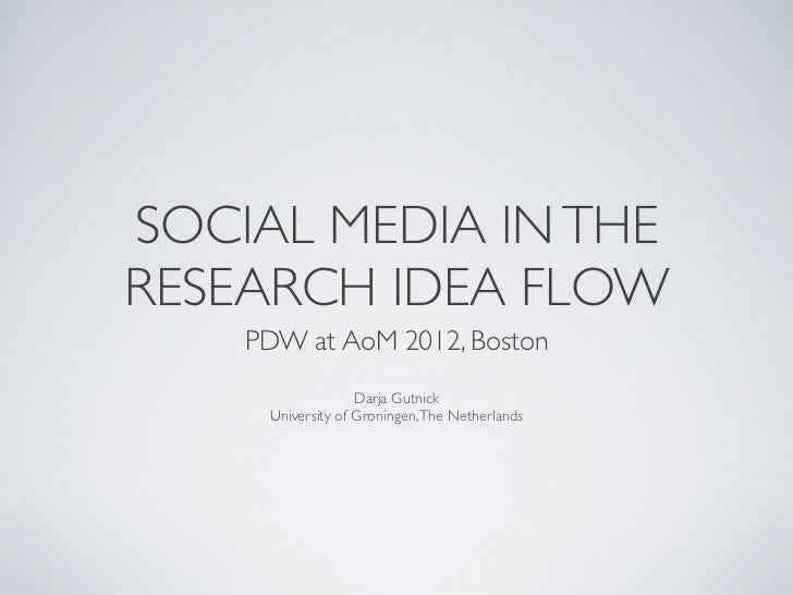 SOCIAL MEDIA IN THERESEARCH IDEA FLOW    PDW at AoM 2012, Boston                   Darja Gutnick     University of Groning...