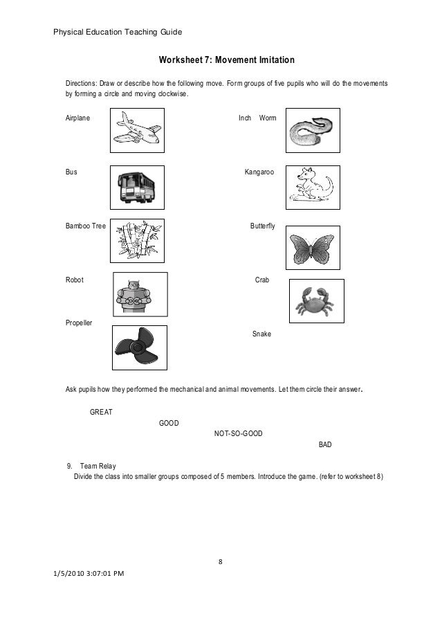 physical education worksheets for high school