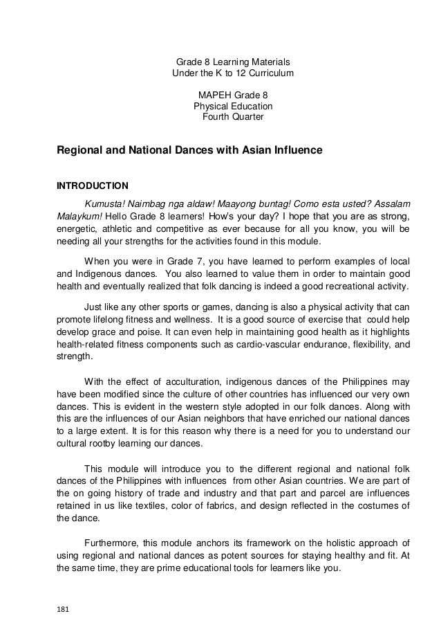 181 Grade 8 Learning Materials Under the K to 12 Curriculum MAPEH Grade 8 Physical Education Fourth Quarter Regional and N...