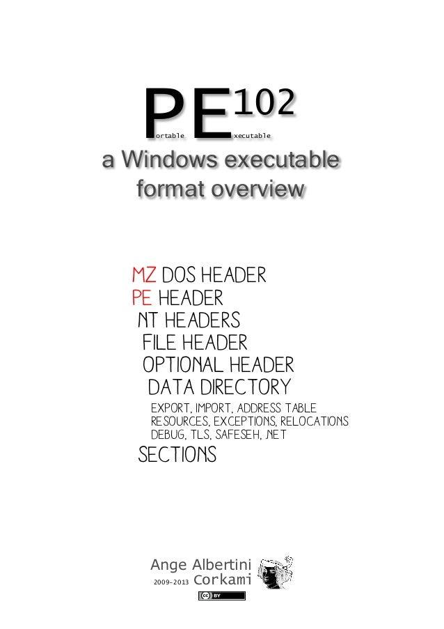Ange Albertini 2009-2013 Corkami PEortable xecutable 102 MZ Dos header PE HEADER NT HEADERS FILE HEADER OPTIONAL HEADER DA...