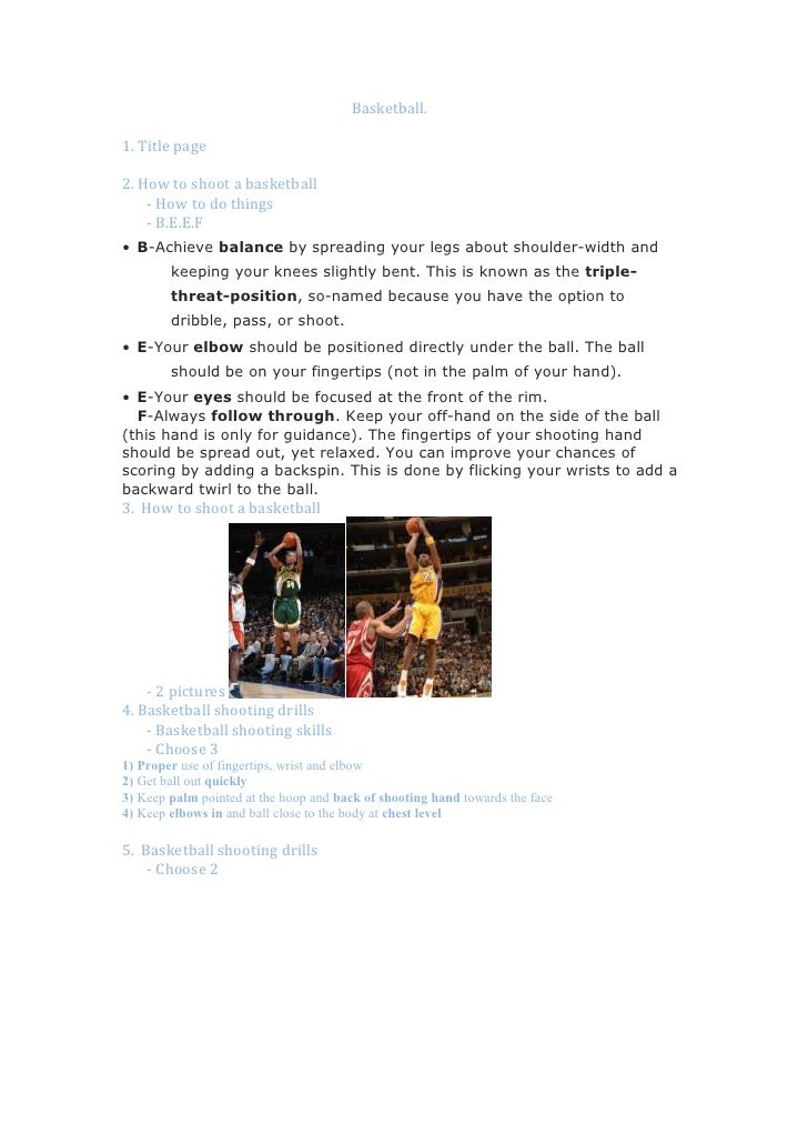 Basketball.<br />1. Title page<br />2. How to shoot a bask...