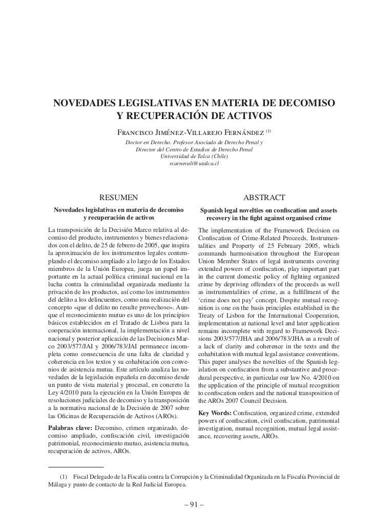 NOVEDADES LEGISLATIVAS EN MATERIA DE DECOMISO           Y RECUPERACIÓN DE ACTIVOS                           Francisco Jimé...
