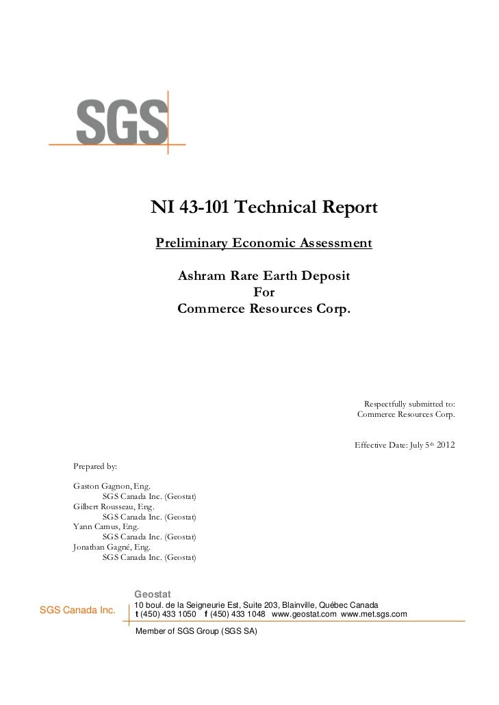 NI 43-101 Technical Report                            Preliminary Economic Assessment                                 Ashr...