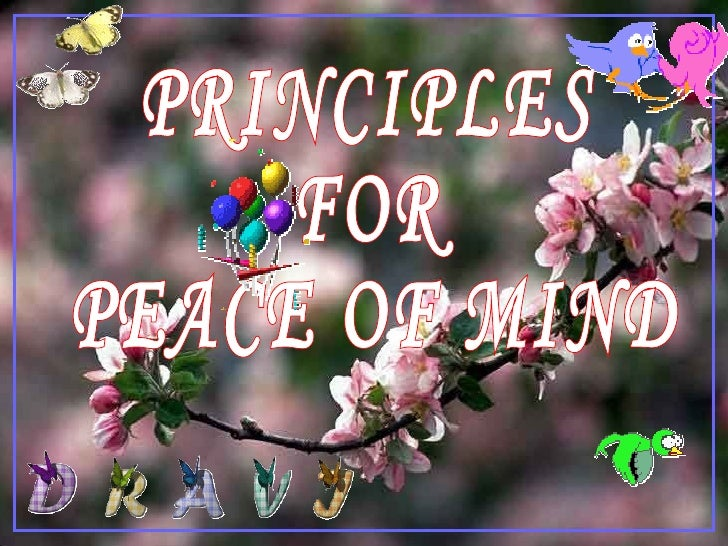 PRINCIPLES  FOR PEACE OF MIND