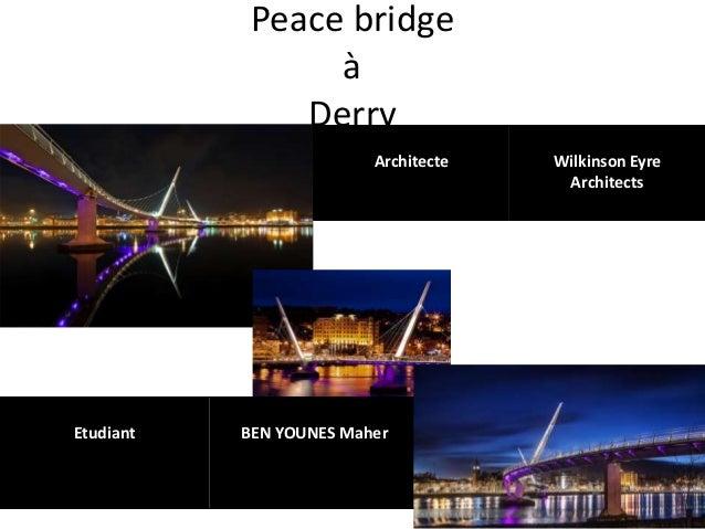 Peace bridge à Derry Architecte Wilkinson Eyre Architects Etudiant BEN YOUNES Maher
