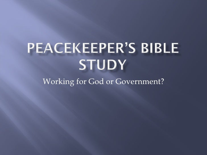 Working for God or Government?