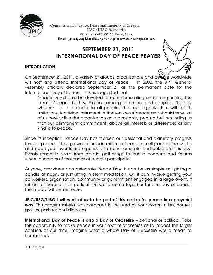 Peace Prayer  Sept21,2011