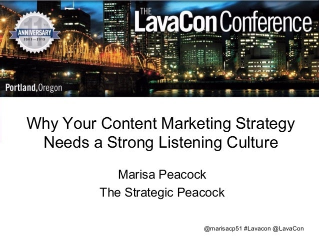 Why Your Content Marketing Strategy Needs a Strong Listening Culture Marisa Peacock The Strategic Peacock @marisacp51 #Lav...