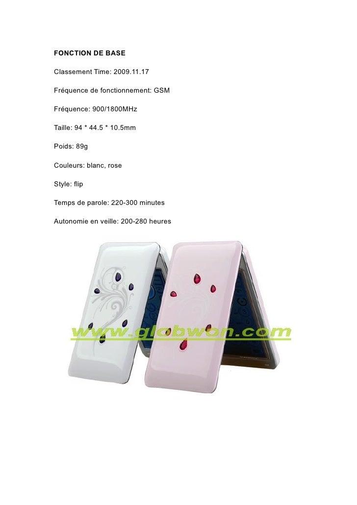 FONCTION DE BASE  Classement Time: 2009.11.17  Fréquence de fonctionnement: GSM  Fréquence: 900/1800MHz  Taille: 94 * 44.5...