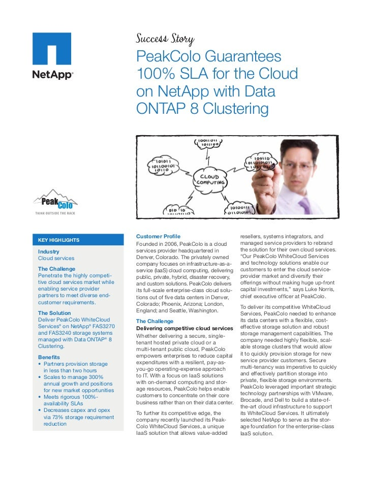 PeakColo Guarantees 100% SLA for the Cloud on NetApp with Data ONTAP 8 Clustering