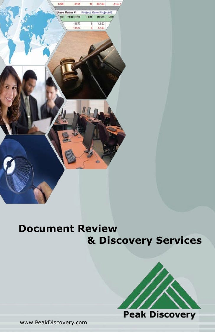 Document Review           & Discovery Services     www.PeakDiscovery.com
