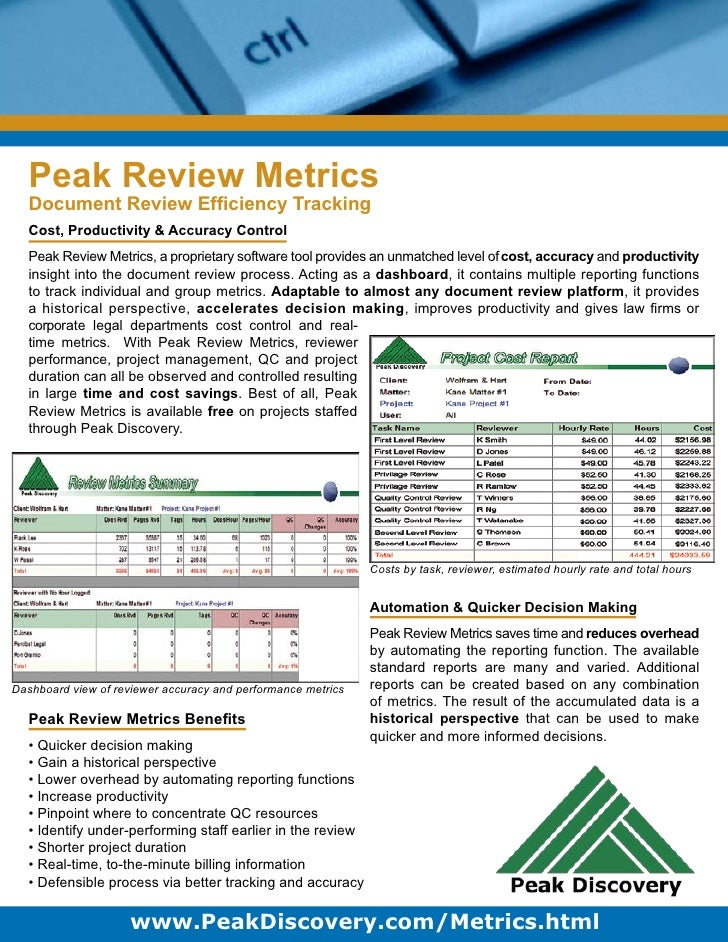 Peak Review Metrics   Document Review Efficiency Tracking   Cost, Productivity & Accuracy Control   Peak Review Metrics, a ...