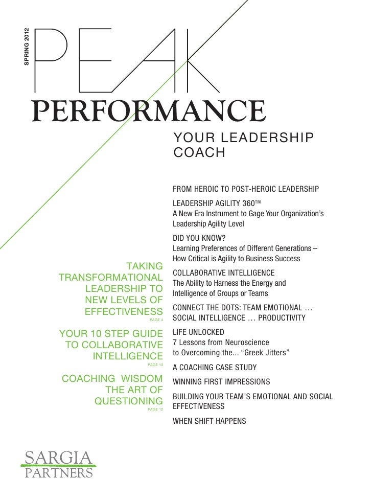 SPRING 2012              PERFORMANCE                                              YOUR LEADERSHIP                         ...