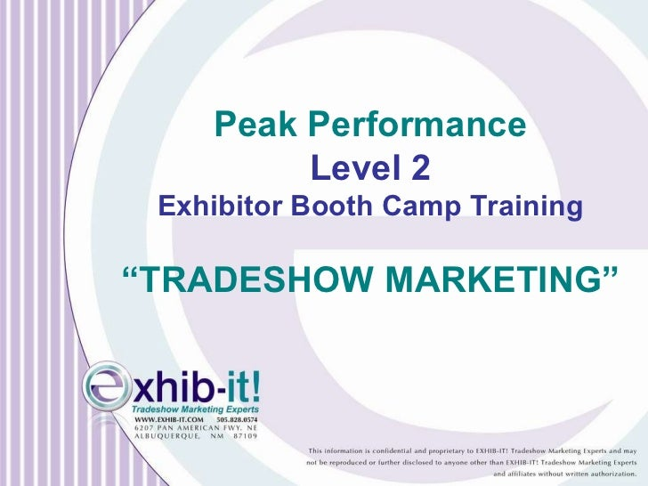 "Peak Performance Level 2 Exhibitor Booth Camp Training "" TRADESHOW MARKETING"""