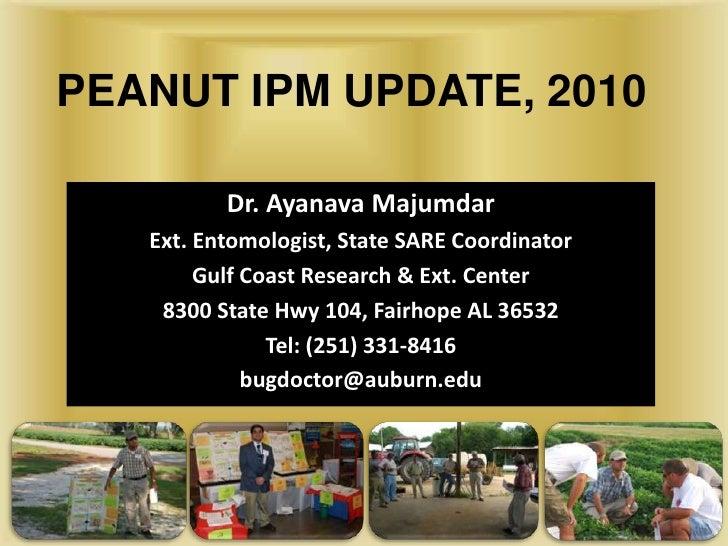 PEANUT IPM UPDATE, 2010<br />Dr. Ayanava Majumdar<br />Ext. Entomologist, State SARE Coordinator<br />Gulf Coast Research ...