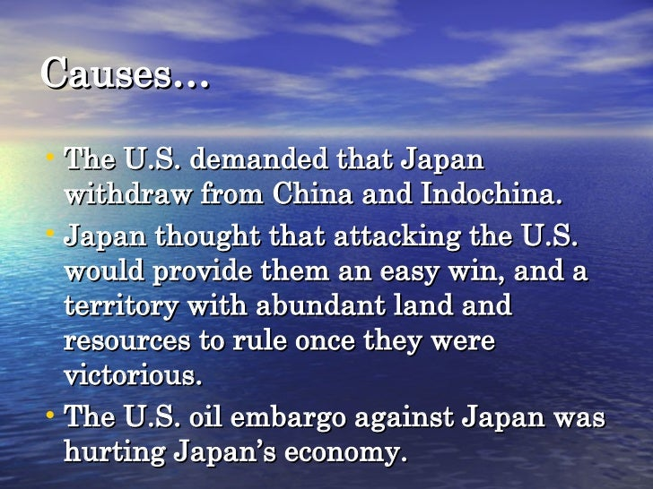 the causes of the bombing of pearl harbor The japanese carried out a surprise attack on the pearl harbor on december 7, 1941 this unforgettable day is well-documented by american historians the attack was.