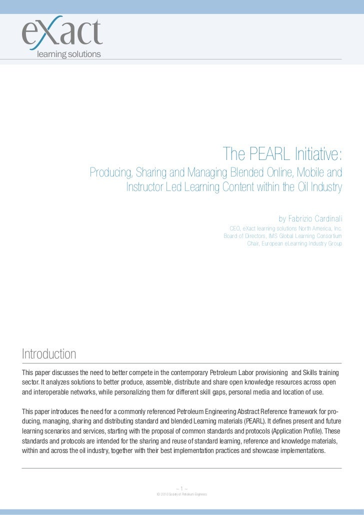 The PEARL Initiative:                          Producing, Sharing and Managing Blended Online, Mobile and                 ...