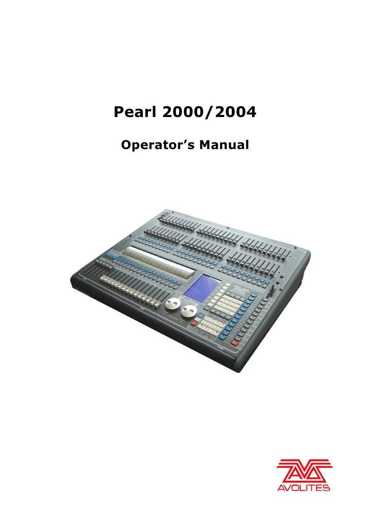 Pearl 2000/2004  Operator's Manual