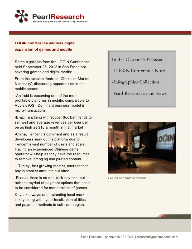 Pearl Research October 2012 Newsletter
