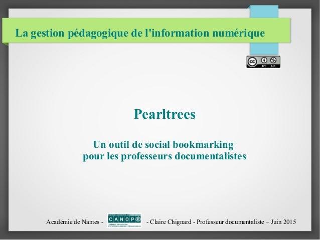 La gestion pédagogique de l'information numérique Pearltrees Un outil de social bookmarking pour les professeurs documenta...