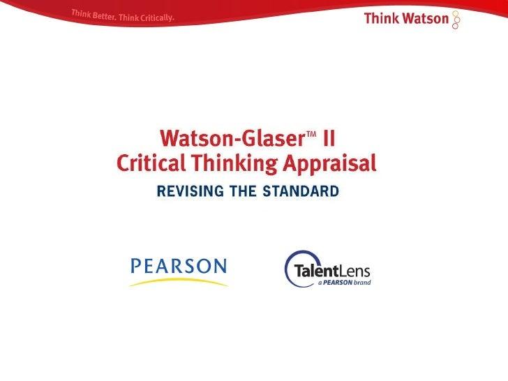 Watson Glaser Critical Thinking Pearson
