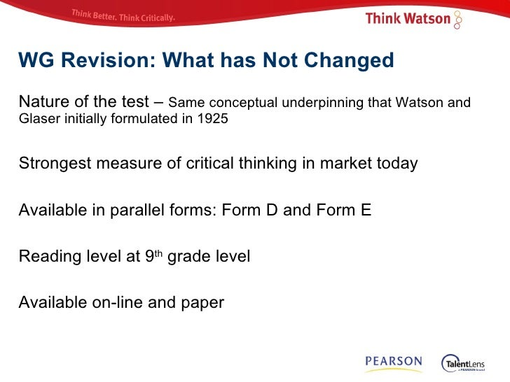 watson-glaser critical thinking test questions The wretched watson glaser test and why i think  of statement-based questions and accounts  to how they respond to a critical thinking test.