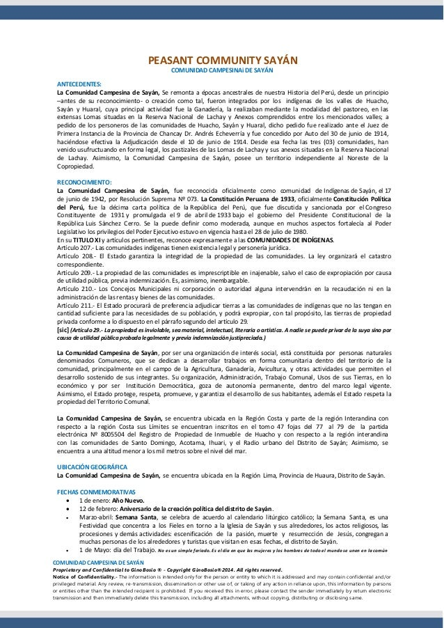 COMUNIDAD CAMPESINA DE SAYÁN Proprietary and Confidential to GinoBosio ® - Copyright GinoBosio®2014. All rights reserved. ...