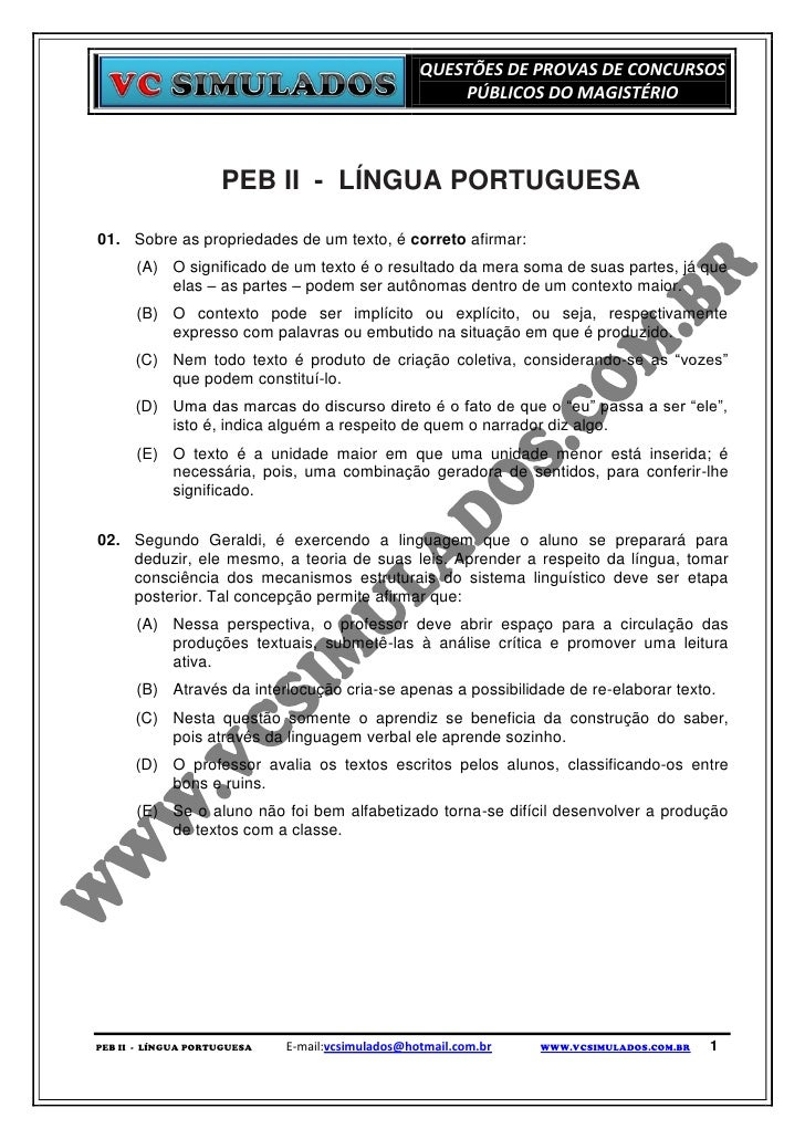 PEB II - PORTUGUÊS  -  SIMULADO DIGITAL PARA CONCURSOS PÚBLICOS