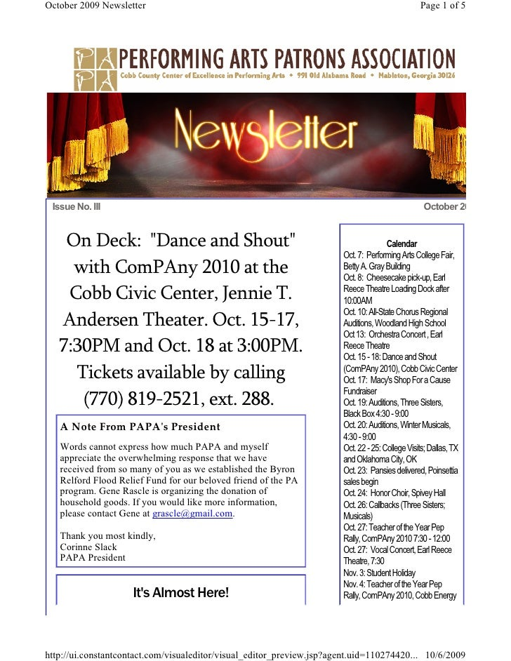 October 2009 Newsletter                                                                          Page 1 of 5      Issue No...
