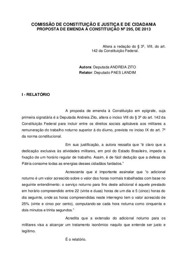 PEC 295 - CONCESSÃO DE ADICIONAL NOTURNO PARA OS MILITARES - Parecer CCJC -16-12-13