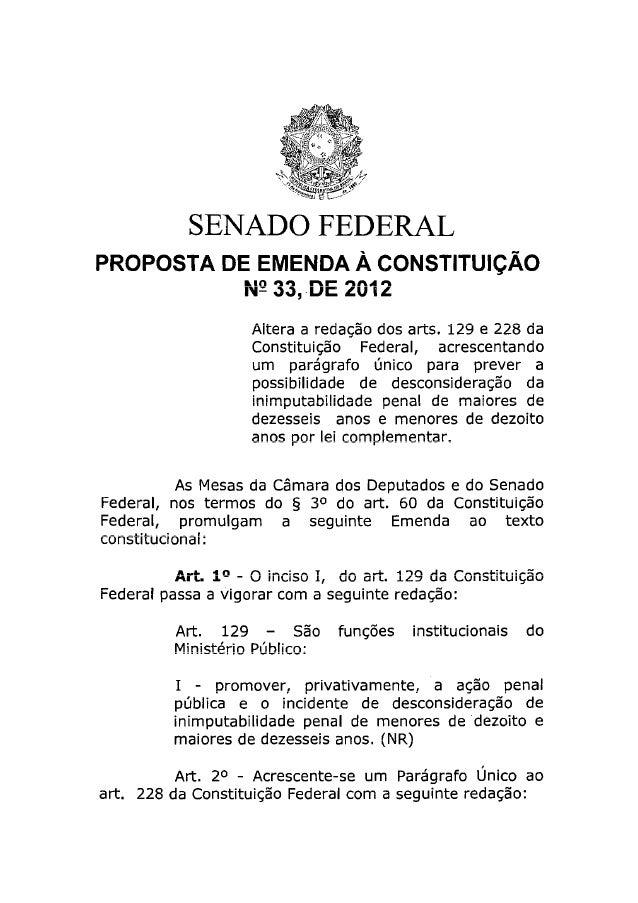 Pec 33 2012 sugere a redução da maioridade penal para 16 anos