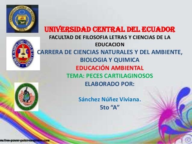 UNIVERSIDAD CENTRAL DEL ECUADOR   FACULTAD DE FILOSOFIA LETRAS Y CIENCIAS DE LA                    EDUCACIONCARRERA DE CIE...