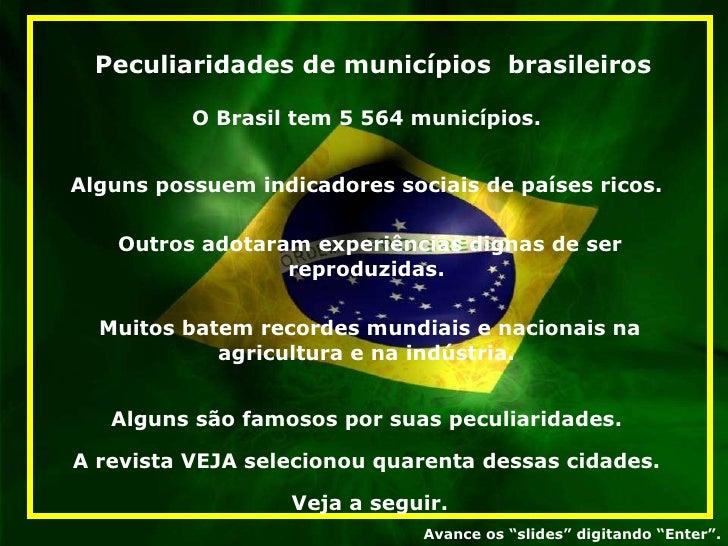 Peculiaridades de Municipios Brasileiros