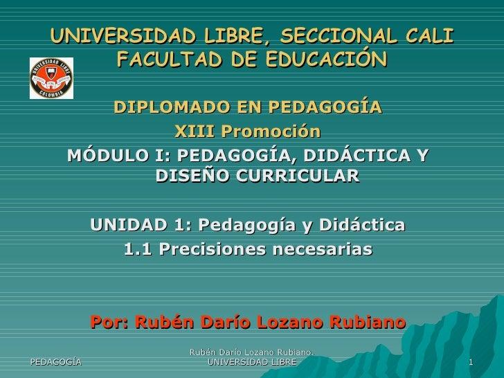 UNIVERSIDAD LIBRE, SECCIONAL CALI FACULTAD DE EDUCACIÓN <ul><li>DIPLOMADO EN PEDAGOGÍA </li></ul><ul><li>XIII Promoción </...