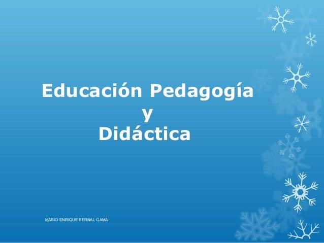 Educación Pedagogía y Didáctica MARIO ENRIQUE BERNAL GAMA