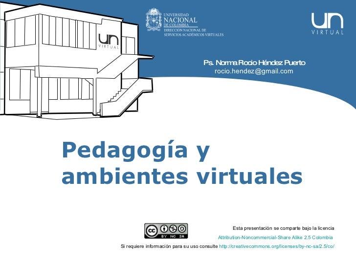 Pedagogía y ambientes virtuales Esta presentación se comparte bajo la licencia Attribution - Noncommercial - Share   Alike...