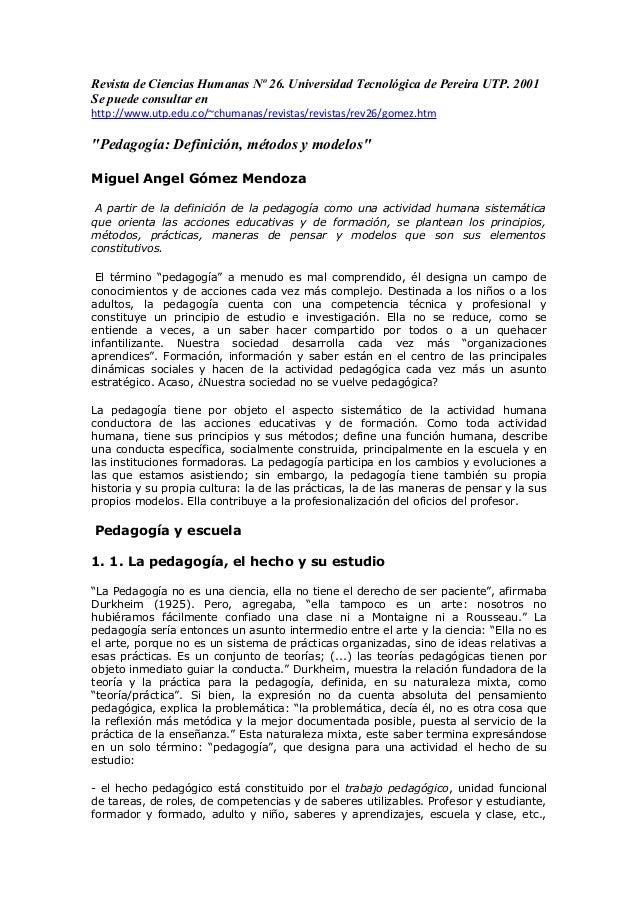 Pedagogia revista de educacion