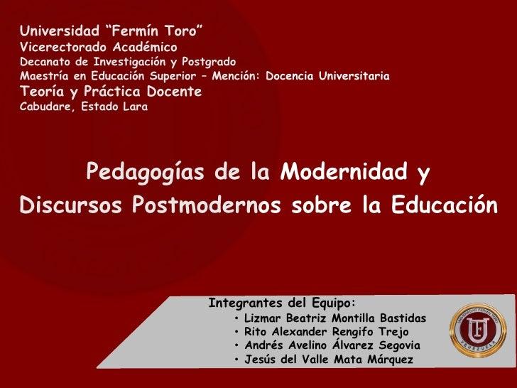 Pedagogias de la modernidad y postmodernidad